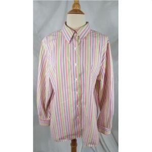 Foxcroft Button Down Shirt Pink Stripe Classic 16